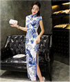 Women's Blue and White Porcelain Retro Printing Cheongsam Long Qipao Dress High Neck Bodycon Chi-pao Lover Home Party Sexy Dress