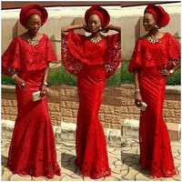 2019 Fashion African Dresses For Evening Cape Sleeves Red Lace Bridal Outfits Nigeria Mermaid Evening Dresses Aso Ebi Gown Party