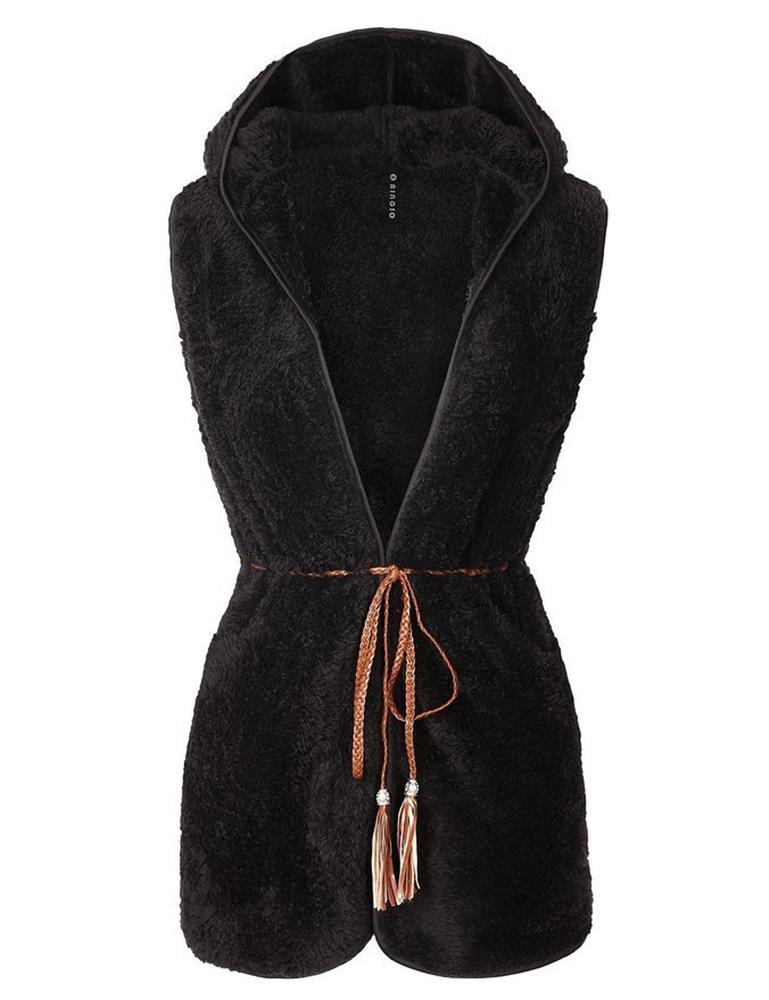European and American autumn winter Coat harajuku sherpa womens fleece hoodies fur femme warm sleeveless jacket