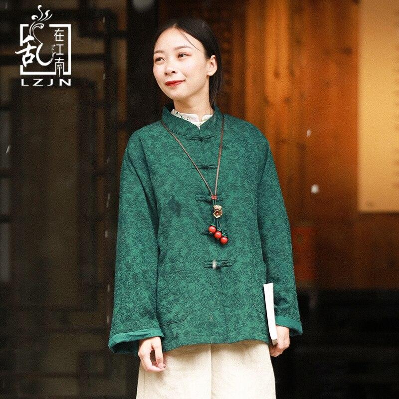 LZJN Printemps Automne Veste Femmes 2018 Jacquard Survêtement Ethniques Chinois Vêtements Stand Col Rouge Vert Manteau Vintage Tang Costume