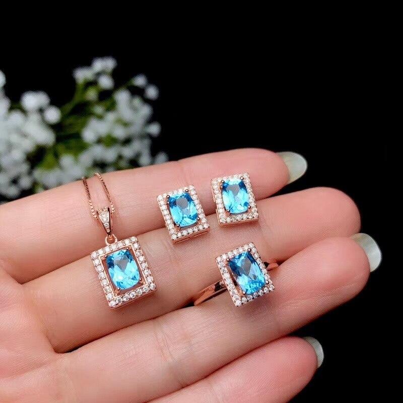 Ensemble de bijoux en topaze bleue classique à prix compétitif, y compris boucles d'oreilles et collier en argent