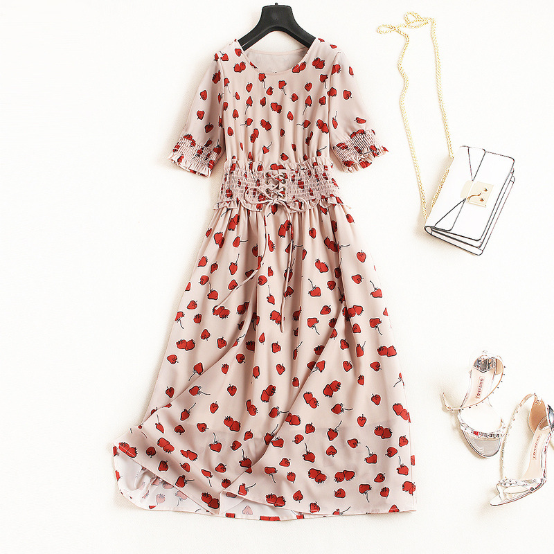 Women fashion sweet heart print chiffon dress short sleeve ruffles cross bow tie elastic waist a-line dresses new 2018 summer цена 2017