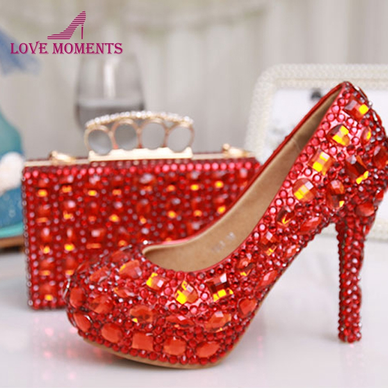 US $136 11 18% OFF|Red Crystal Wedding Shoes with Matching Purse Sparkling  Rhinestone Bridesmaid Shoes with Clutch Low Middle High Heel Plus Size-in