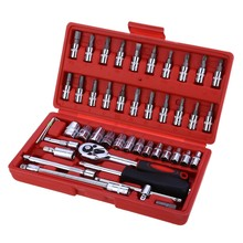 46pcs 1/4-Inch Socket Set Car Repair Tool Ratchet Set Torque Wrench Combination Bit a set of keys Chrome Vanadium(China)