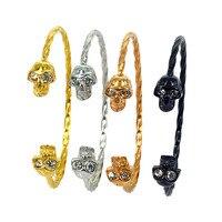 Rose Gold Skull Bracelets & Bangles Men Women 2017 Fashion Jewelry Viking Bracelet Crystal Eyes Stainless Steel Bracelet Homme