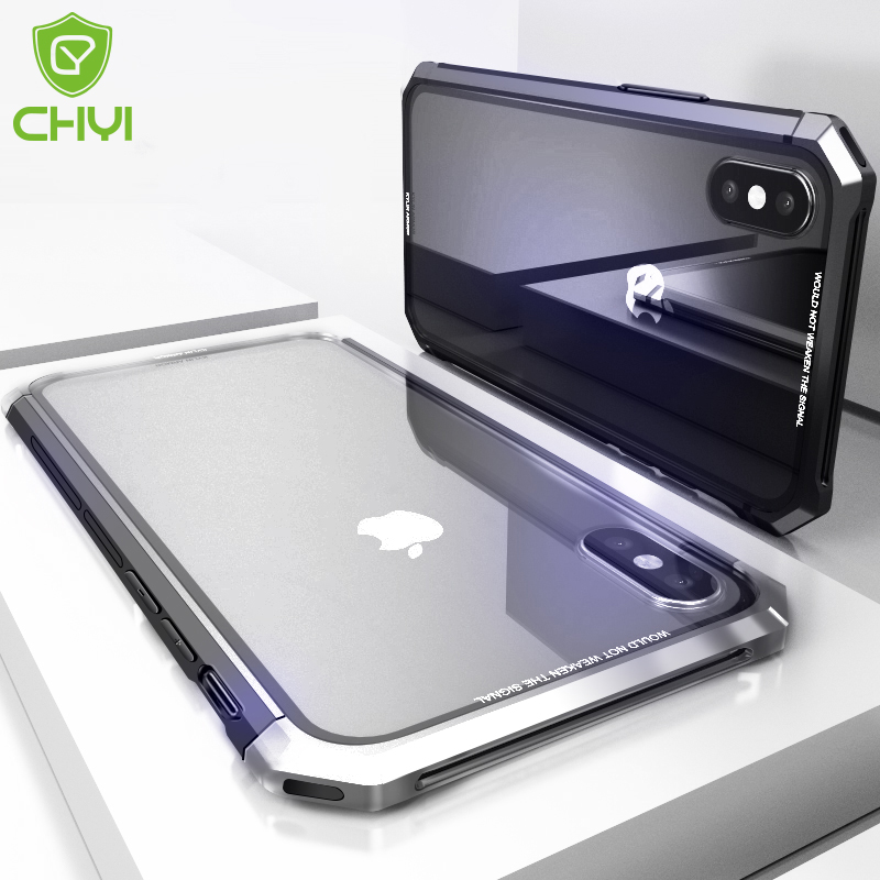 CHYI Metal glass combination Case for iPhone Xs Max Clear Tempered Glass back Aluminum alloy metal bumper for iphone 7 8 X XR iPhone XS