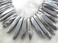 Silver Titanium Spikes Crystal Quartz Beads Crystal Spike Sharp Teeth Semiprecious Jewelry Necklace 15 50mm 16inch