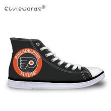 ELVISWORDS Philadelphia Flyers Print Men Black Canvas Shoes High Top Vulcanize Shoes for Student Teenager Boys Flats Adult Shoes