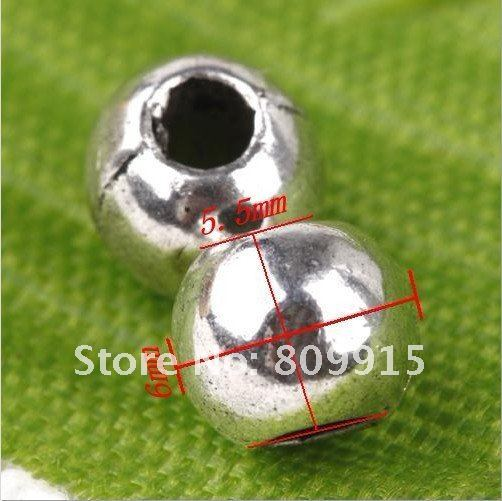 80pcs/lot Tibetan Silver Smooth Round Spacer Beads 6x5.5mm CA606