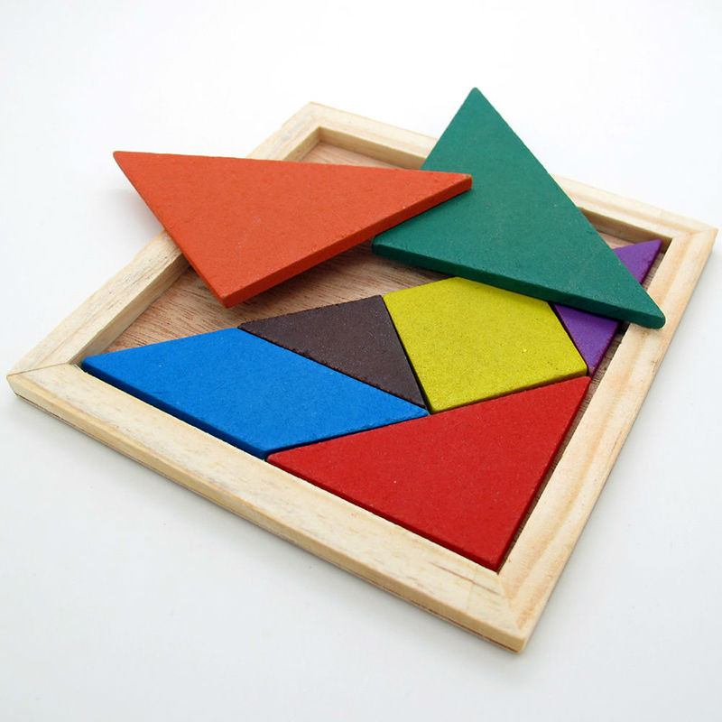 1 sada Wooden Tangram Puzzle IQ hra Brain Teasers Learning Toy