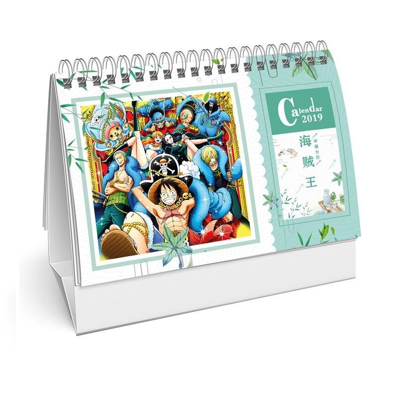 Calendario Japones.6 96 10 De Descuento Calendario De Escritorio De Una Pieza De Anime Japones 2019 Calendario De Mesa De Bricolaje Calendario Diario Planificador