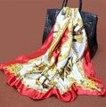 1 UNID Venta Caliente Cinta de Raso Estilo Cape Realeza Diseñadores Mujeres de la Marca de Satén de Seda Bufandas 90*90 Square Hijab bufanda