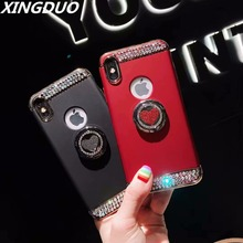 XINGDUO Phone Case For iPhone X XS XR MAX Jewelled love Kickstand function Bling Diamonds PC + TPU case for iphone 7 8 6 6S
