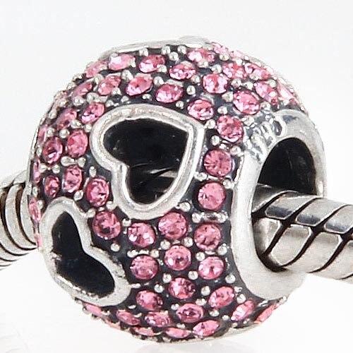 2015 New Silver Charms Fits For Pandora Bracelets Original 925 Sterling Silver Heart Pink Cz Pave