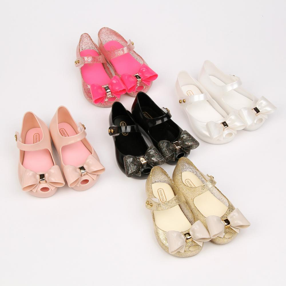 Children's Summer Shoes Mini Melissa Sparkle Bowknot Fashion Sandals Kids Girls Beauty And The Beast Rose Jelly Shoes SH0104