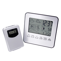 Wireless Multilingual Display Indoor Outdoor Digital Temperature Hygrometer Meter With Weather Radio Alarm Clock Thermometer