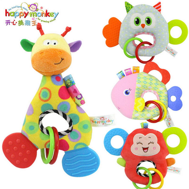 0 3 y baby rattles hand bell toy owl fish giraffe monkey for Owl fish store