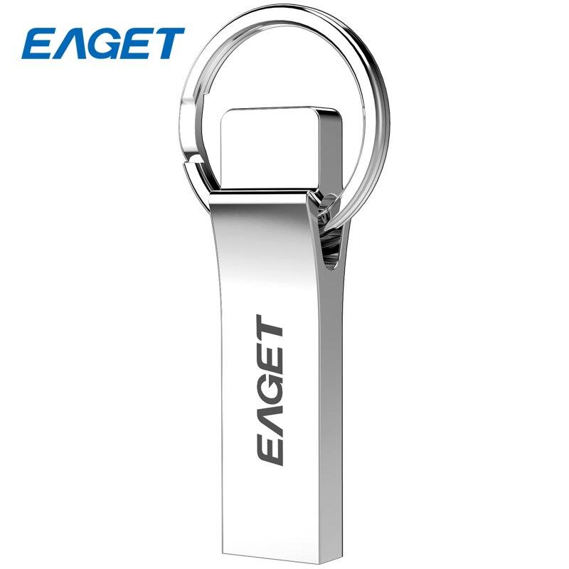 EAGET Mini Waterproof Pendrive Flash Disk 128GB USB 3.0 16GB Key Ring Memory Stick Pen Drive 64GB Metal USB Flash Drive 32GB U90