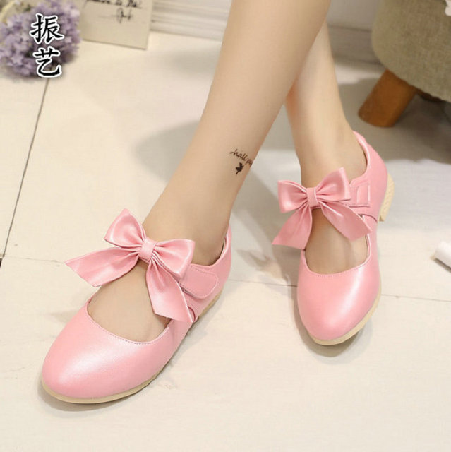 2016 New Autumn Girls Princess Shoes Brand Children PU Leather Gold white Bowknot Girls party Shoe Soft Soles Size 26~36