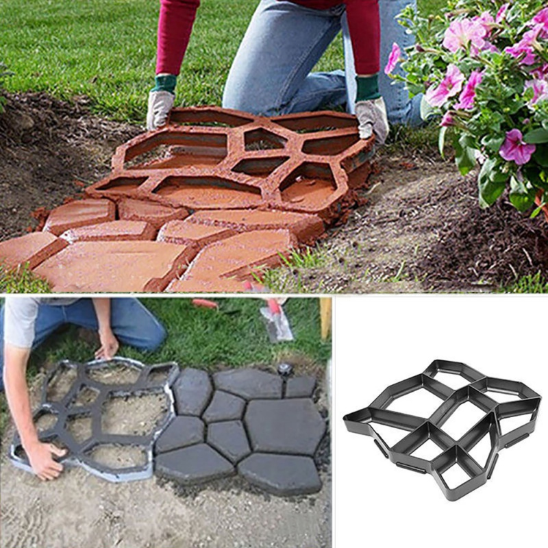 DIY Plastic Path Maker Mold Manually Paving Cement Brick Molds Garden Stone Road Concrete Molds Pavement For Garden Home Tool