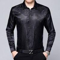 2017 New Arrive Autumn Spring Long Sleeve Fashion Silk Men Businese Casual Shirt High End Brand