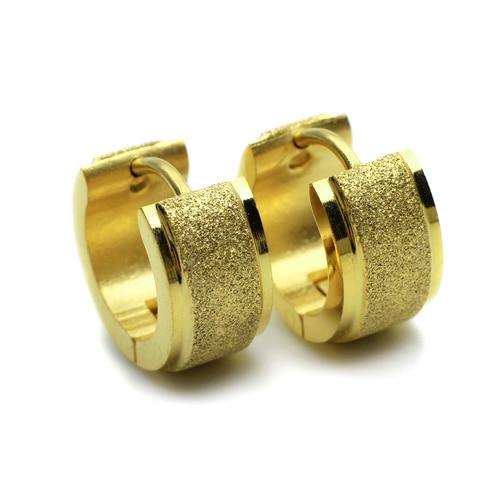 Stainless Steel Shiney Golden Matte Finish Studs Hoop Mens Earrings E548