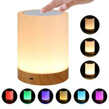 New LED Seven Colors Creative Wood rechargeable Night Lamp Gift Bedside Lamp Touch Pat Atmosphere Lamp lumiparty led table lamp sandglass sleep assistant nightlight rechargeable touch sensitive bedside night lamp minutes timer lamp