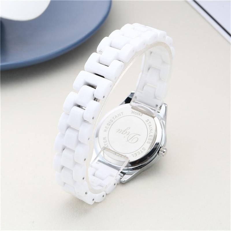 DIGU Women's Watches White Ceramic Wristwatch Quartz Waterproof Watchbands Ladies Dress Watch For Women Clock Reloj