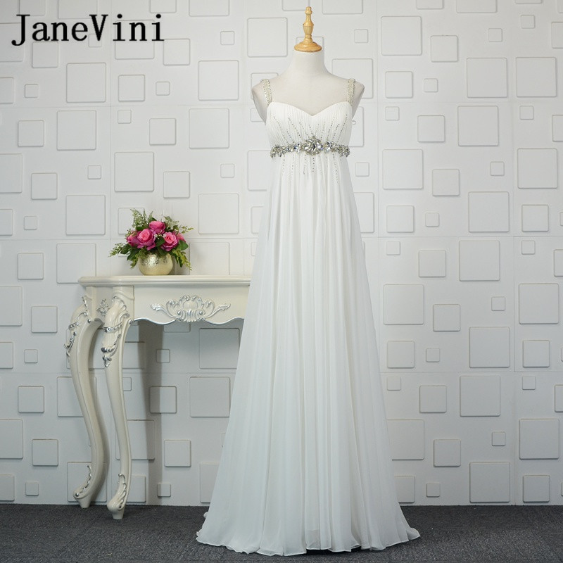 JaneVini White Plus Size Long Wedding Party   Dresses   for Pregnant Women Crystal Chiffon Maternity   Bridesmaids     Dresses   Sweep Train