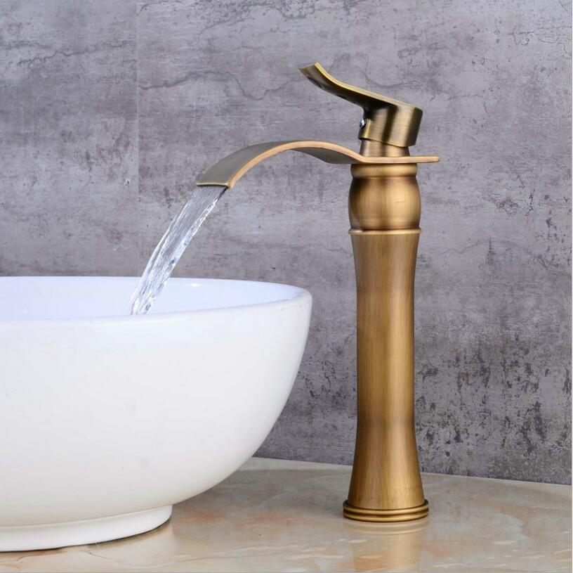 Basin Faucet Single Handle Antique Bronze Waterfall Basin Mixer Tap Hot & Cold Bathroom Faucets Sink Waterfall Faucet Drain