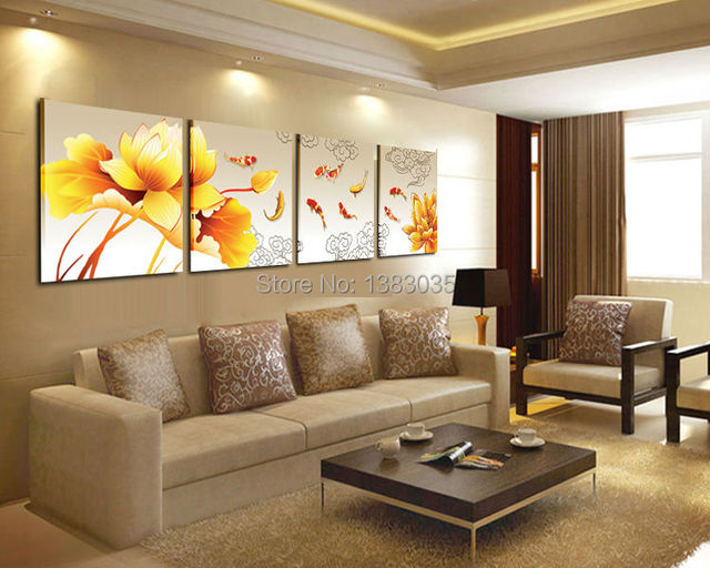 Hand Painted Abstract Lotus Flower Koi Fish Canvas Painting Landscape Wall  Decor Set Of 4 Piece