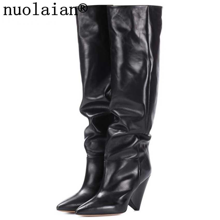 9 Cm Tinggi Heel Sepatu Musim Dingin Wanita Hitam Di Atas Lutut Kulit Bot Woman Salju Sepatu Bot Paha Tinggi Wanita Tinggi tumit Bot Bulu BOOT