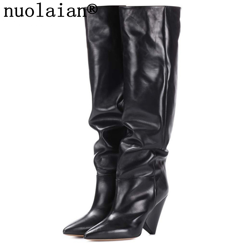 9CM High Heel Winter Shoes Women Black Over The Knee Leather Boots Woman Snow Thigh High Boots Womens High Heels Boots Fur Boot black leather thigh high boots women 9cm high heel over the knee boots woman motorcycle boot snow winter boots with fur shoe