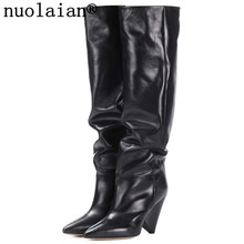 9CM High Heel Winter Shoes Women Black Over The Knee Leather Boots Woman Snow Thigh High Boots Womens High Heels Boots Fur Boot(China)