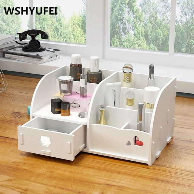 Multifunctional Makeup Organizer with Drawer Cosmetics Wood Storage Box  Bathroom Office Waterproof Desktop Storage Organizer DIY