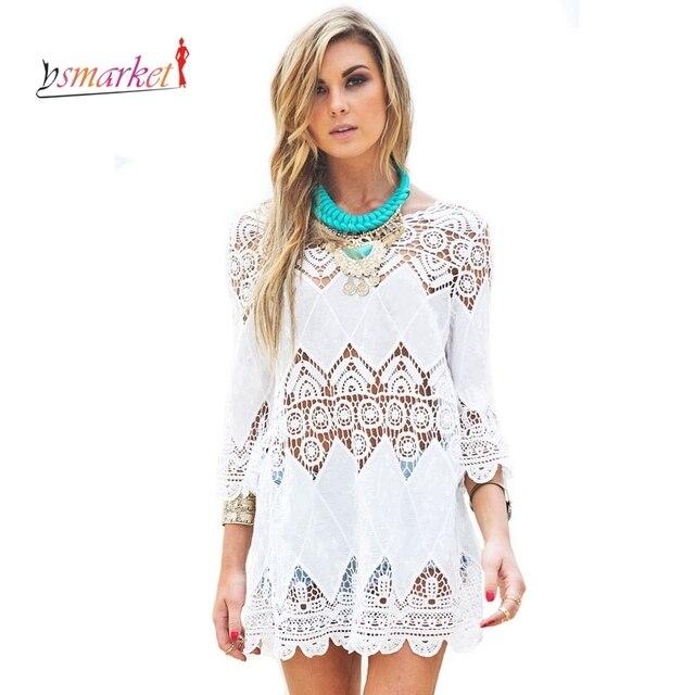 93e2388264 New Women Hawaiian Vestido Beach Dresses Lace Angel White Lace-up Crochet  Knit Honeycomb Beachwear Saida De Praia 41507