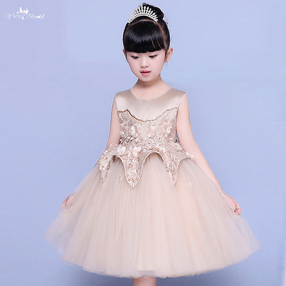 FG58 Real Pictures Yiaibridal Sleeveless Light Brown Puffy Tulle Vestido Daminha   Flower     Girl     Dresses