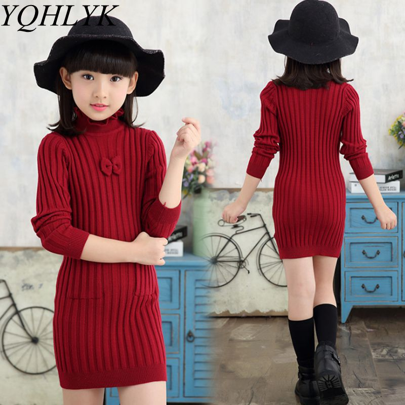 цены New Fashion Autumn Winter Girl Dress 2018 Children Thick High Neck Long Sleeve Knit Tight Dresses Sweet Slim Kids Clothes W116