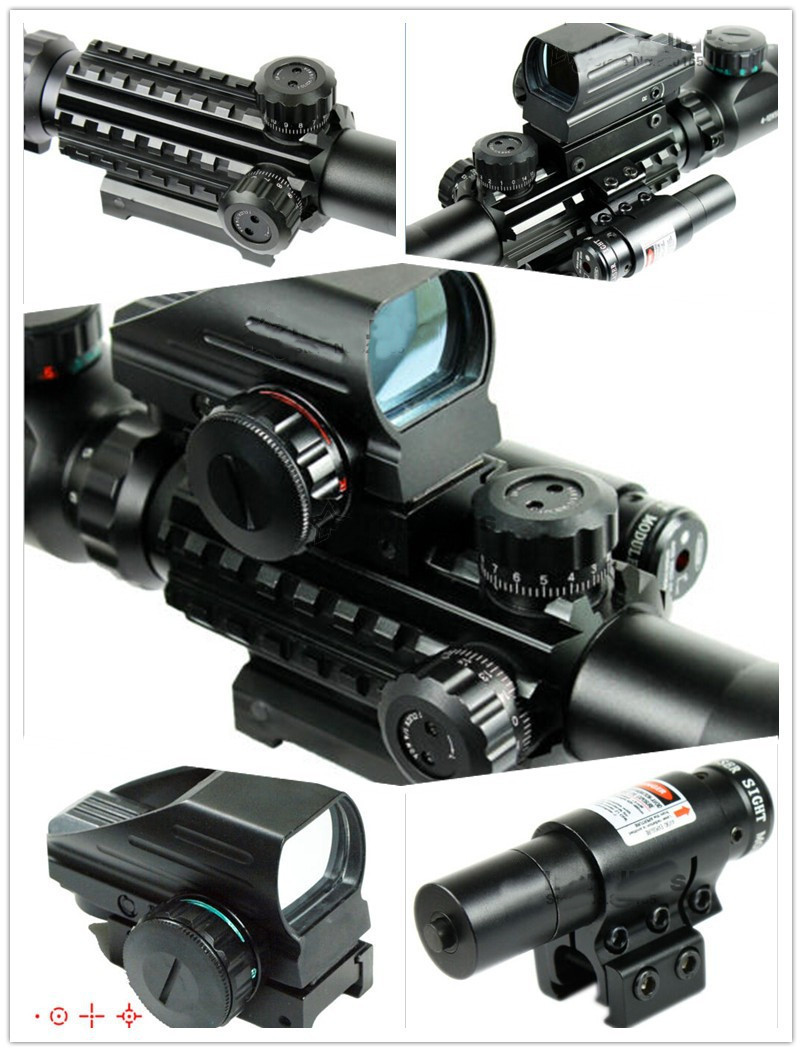Red Green Illuminated 4-12X50 EG Night Vision Riflescope w/ 4 Reticle Holographic Red Dot / Red Laser Sight Rifle Airsoft Scope 3 10x42 red laser m9b tactical rifle scope red green mil dot reticle with side mounted red laser guaranteed 100%