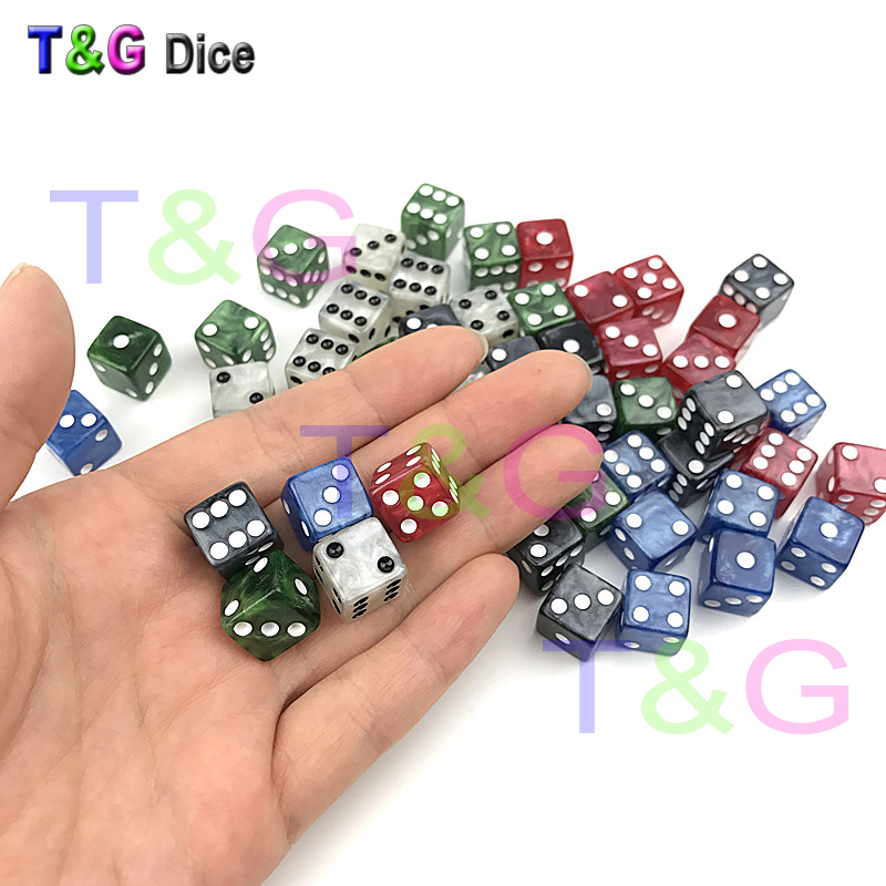 10pc/set 12MM High Quality Dice d6 Marble effect   dots dice Game Accessories  Gambling