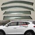 Window Sun Rain Visors Super 4PCS Vent Shade Rain Deflector Sun Guard Shield PU For Hyundai Tucson 2015 2016