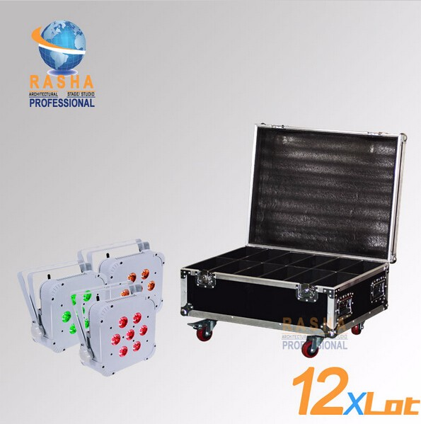 Rasha Quad-12X LOT 7*10W RGBA/RGBW Wireless LED Slim Par Profile,LED Flat Par Can For Stage Event Party With 12in1 Flight Case