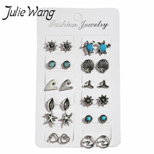 Julie Wang 12 para Böhmischen Stil Shell Welle Meer Schildkröte Süße Nette Form Aquarium Souvenir Ozean Party Thema Seesterne Ohrringe(China)