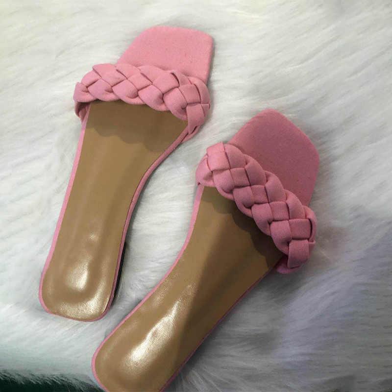 夏の女性はデニムセクシーなフラットスライド女性のカジュアルフリップは、ファッションカットアウトサンダル Mujer ビーチ靴