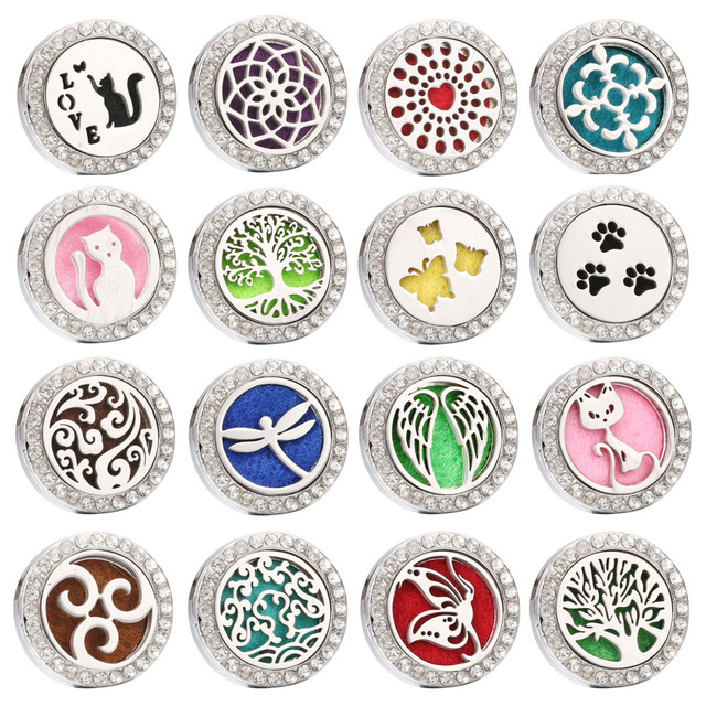 New Snap Jewelry Tree Perfume Locket 20mm Magnetic Stainless Steel Aromatherapy Locket Essential Oil Diffuser Snap Button ZA900