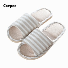 Winter Anti-slip Linen Slipper Striped Flaxen Women Men Hotel Board Indoor Home Shoes  Ladies Flat Flax  Slippers Mujer B488 new 2018 unisex linen flax plaid house flat slipper indoor home cozy open toe scuffs