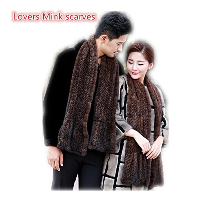 Взрослых мужчин реального норки шарф 160 см женщины зимние Эластичные трикотажные, меховые шарфы твердые черный коричневый Пара шарфы любви шарф