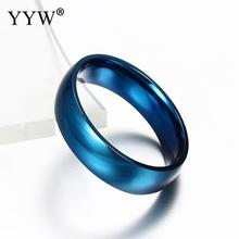 6mm Classic Wedding Ring for Men / Women Gold Blue Silver Color Stainless Steel US size
