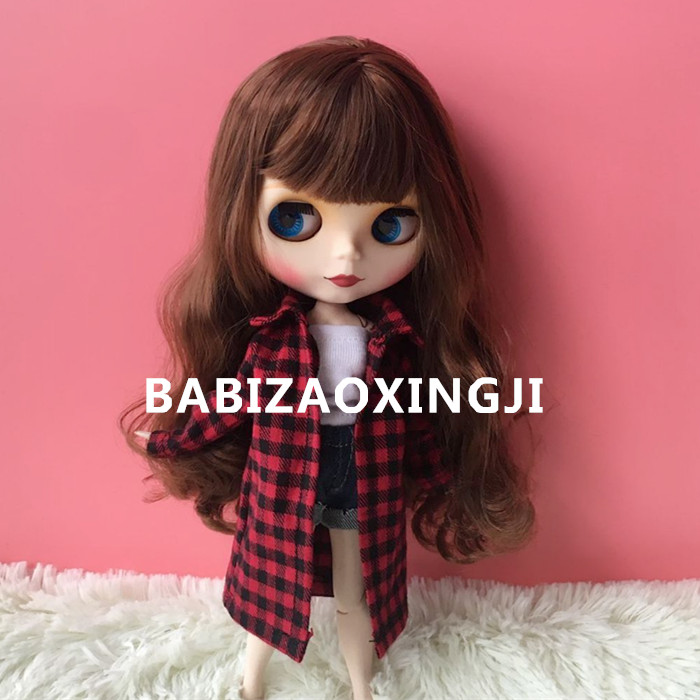 1/6 bjd blyth doll clothes Doll Accessories Fashion plaid shirt for barbie blyth doll clothing 30cm doll accessory licca clothes fashion black thread knitted cap hat for bjd 1 6 yosd 1 4 msd 1 3 sd17 uncle doll clothes accessories