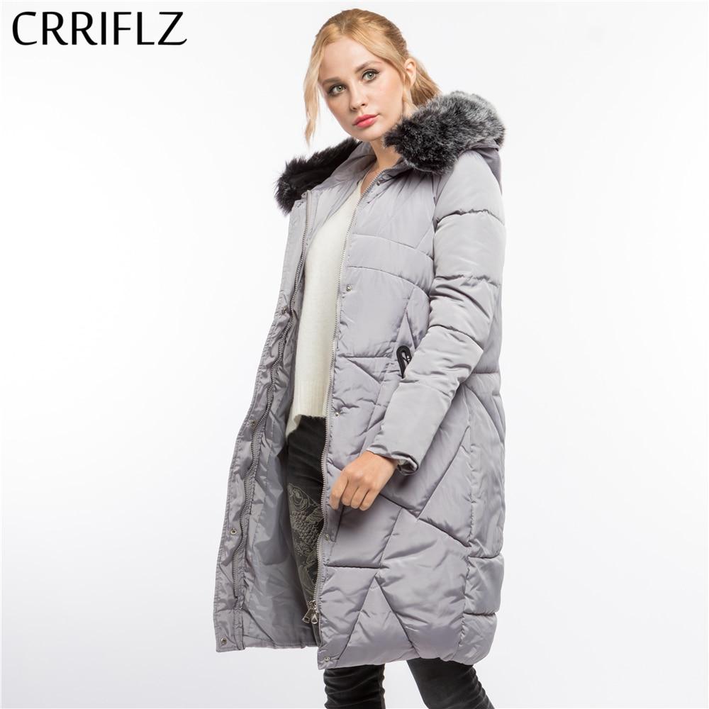 CRRIFLZ Winter Clearance Long Fur High Quality Warm Winter Jacket Women Hooded Coat Parkas Female Outerwear Parkas     - title=